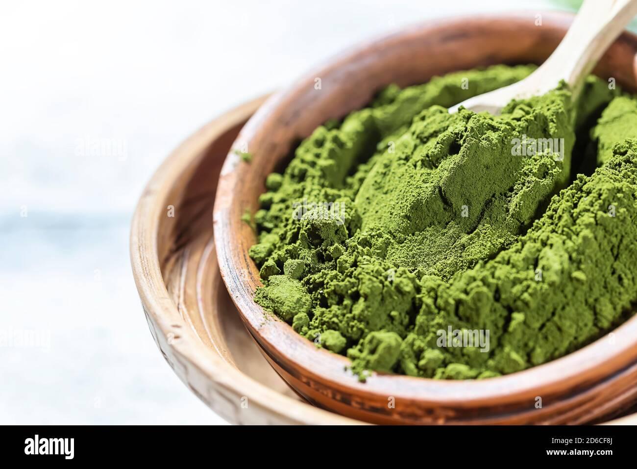 Chlorella en poudre verte, spiruline sur fond de béton gris. Concept de régime, de détox, de superalimentation saine, qui contient des protéines. Banque D'Images