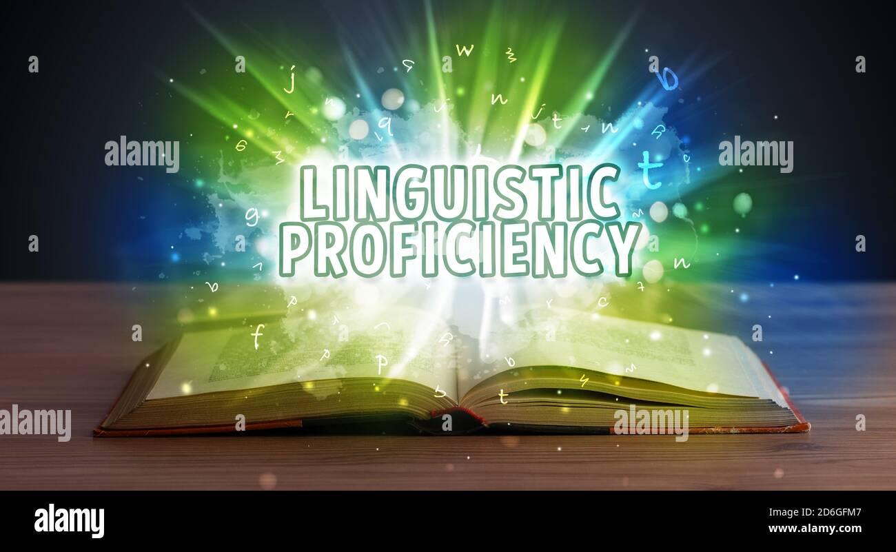 La compétence linguistique de l'inscription d'un livre ouvert, concept éducatif Banque D'Images
