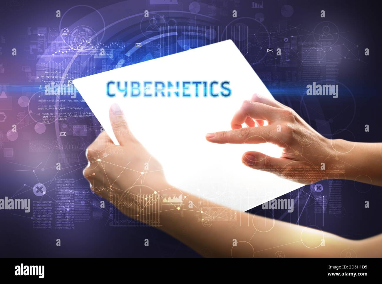 Part holdig tablette futuriste avec la cybernétique, inscription nouvelle technologie concept Banque D'Images