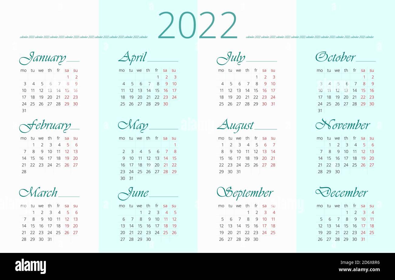 Calendrier 2022 Anglais 2022 modèle de calendrier en anglais. 12 mois. La semaine commence