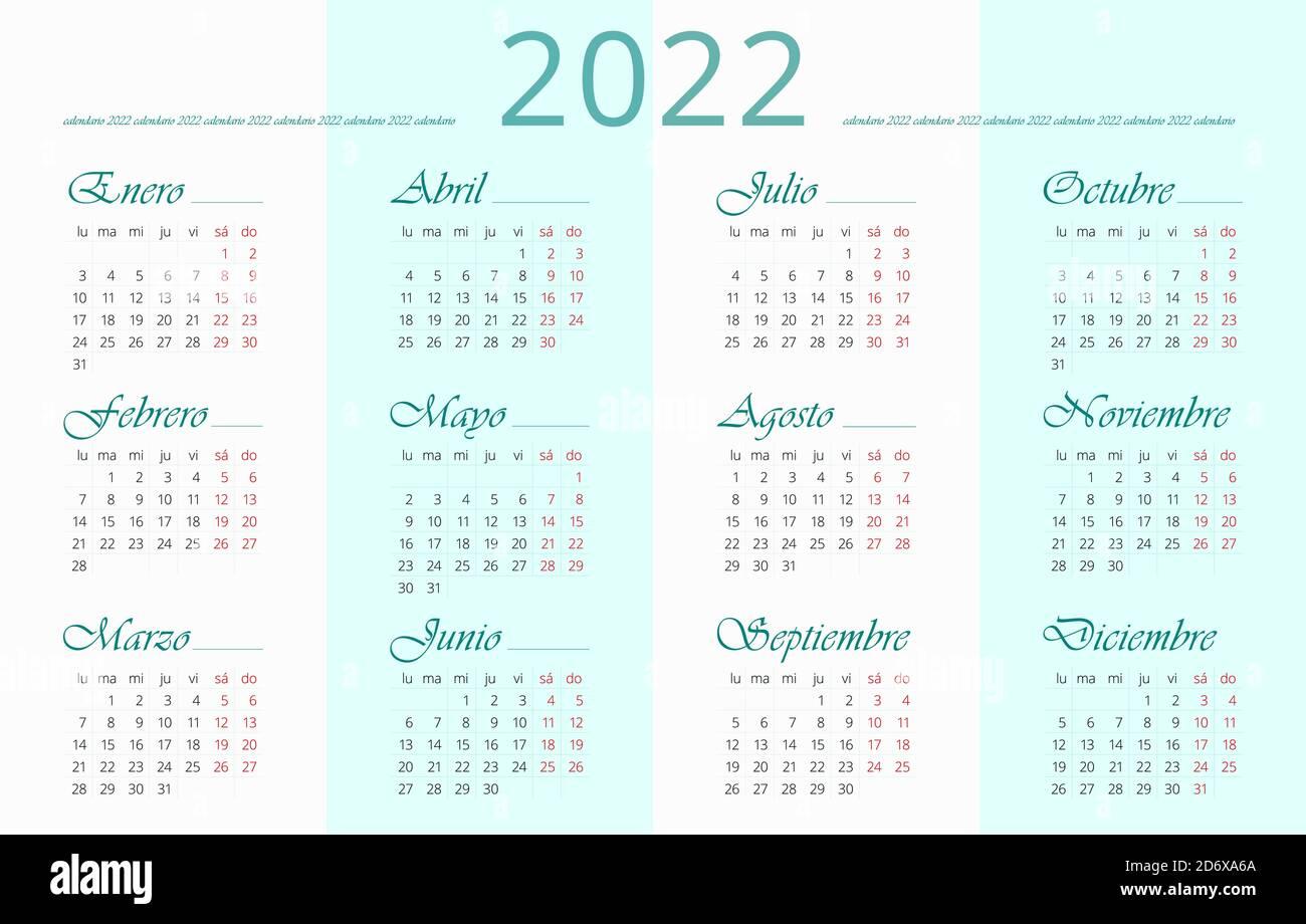 Modèle De Calendrier 2022 Modèle de calendrier 2022 espagnol. 12 mois. Les dimanches et