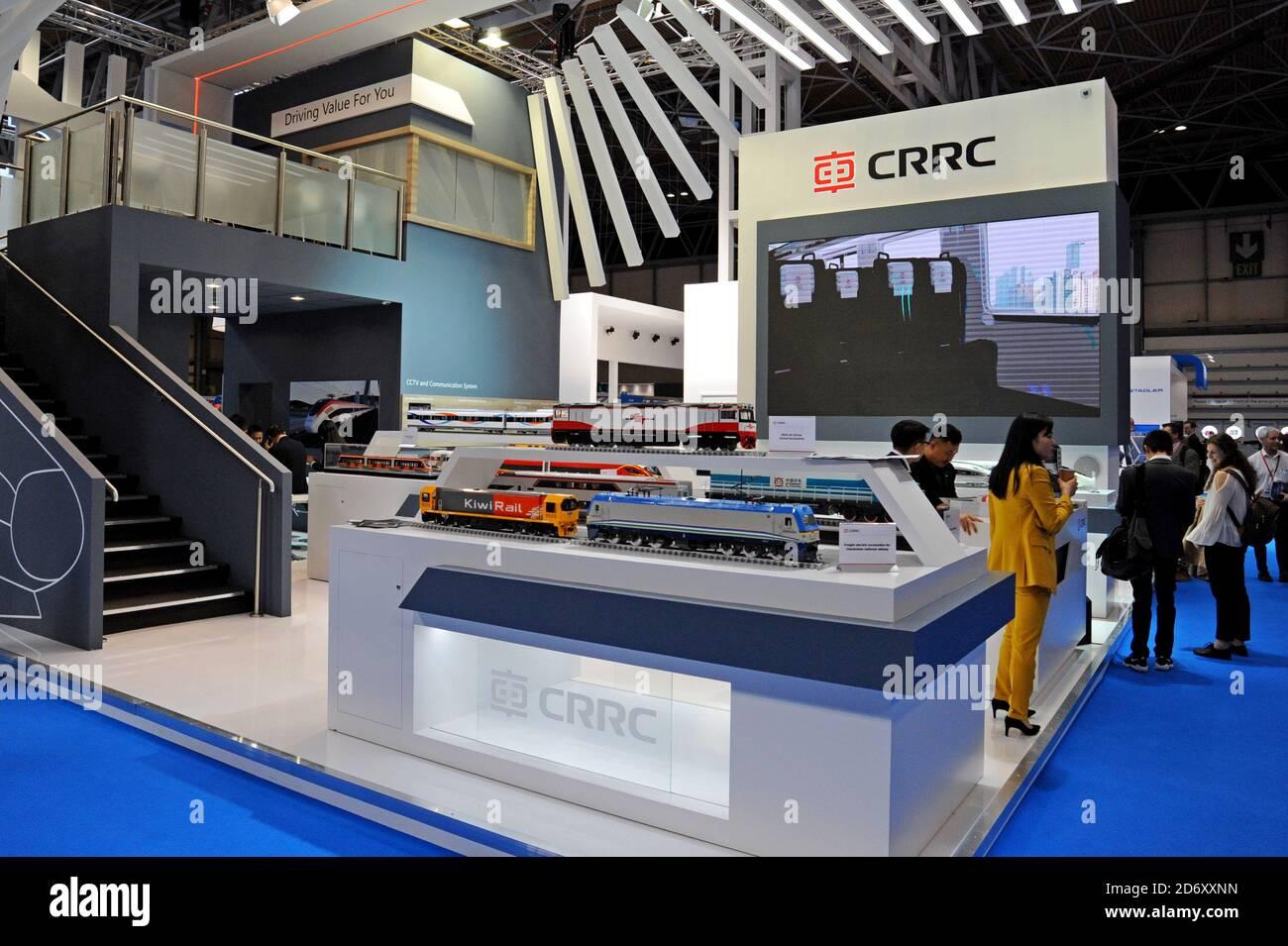 Le CCRR China Railway stand à l'exposition de l'industrie ferroviaire RailTex, NEC, Birmingham Avril 2019 Banque D'Images