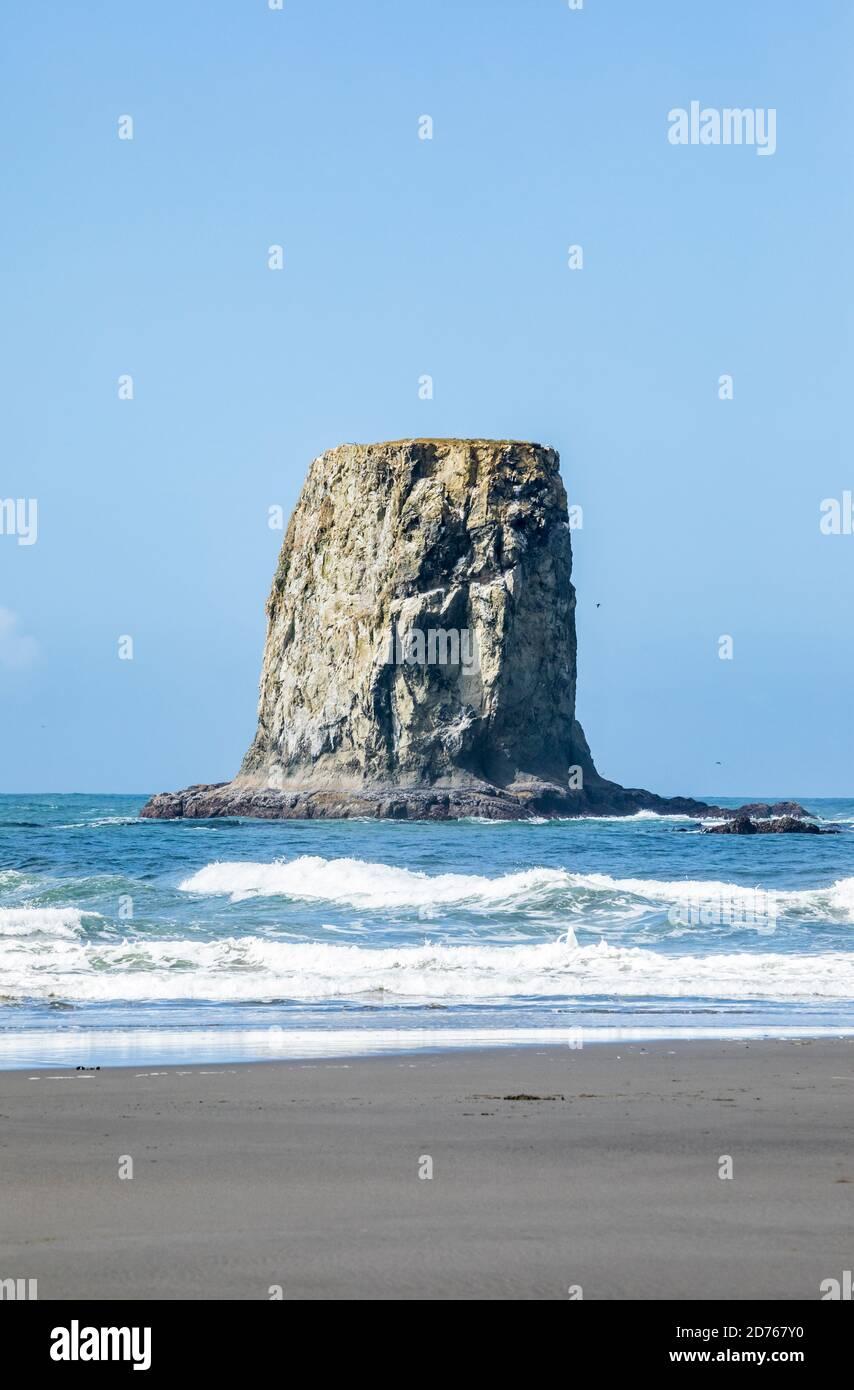 Une pile de mer au large de 2nd Beach, Olympic Coast National Marine Sanctuary / National Park, Washington, Etats-Unis. Banque D'Images