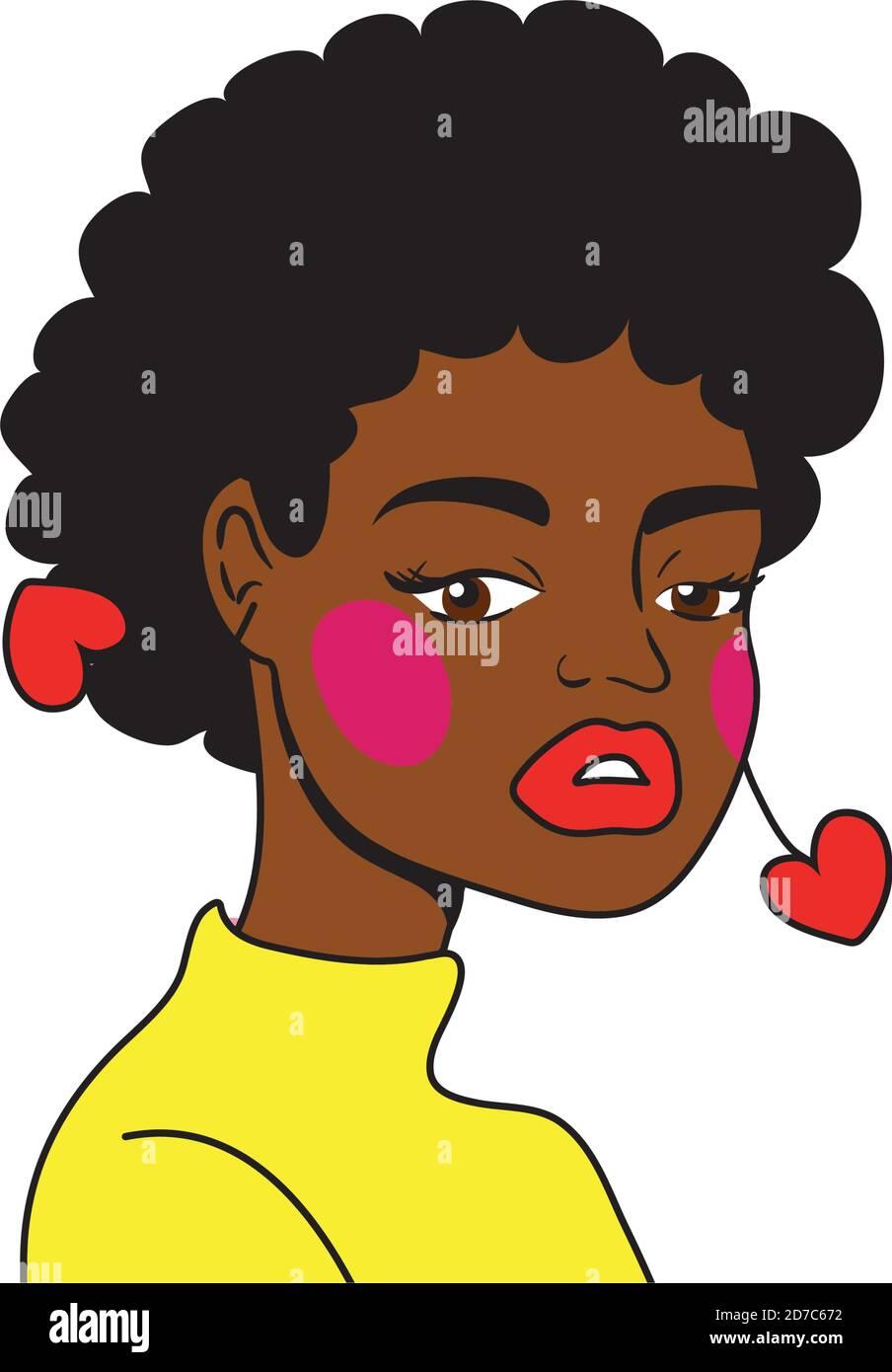 afro femme pop art style icône vecteur illustration design Illustration de Vecteur