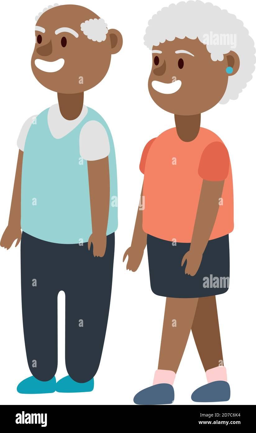 afro vieux couple personnes avatars personnages vecteur illustration design Illustration de Vecteur