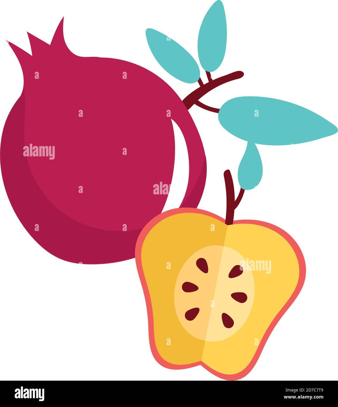 motif vectoriel de fruits frais rouges aux pommes et grenade Illustration de Vecteur