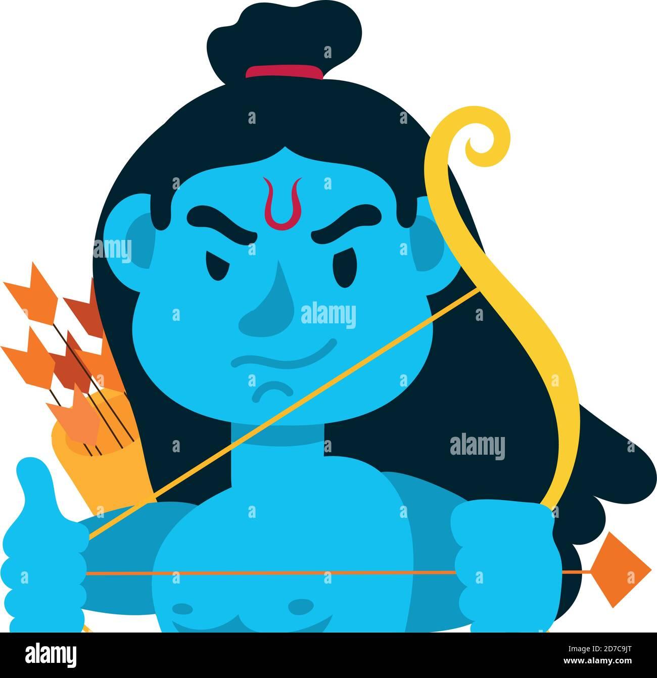 rama god avec motif vectoriel de personnage d'arche Illustration de Vecteur