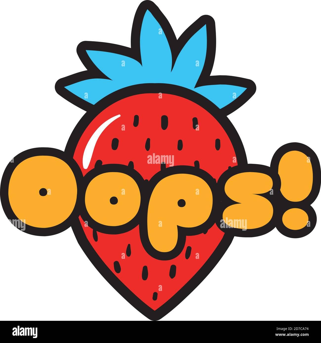 illustration vectorielle de fraise avec mot oops style art pop conception Illustration de Vecteur