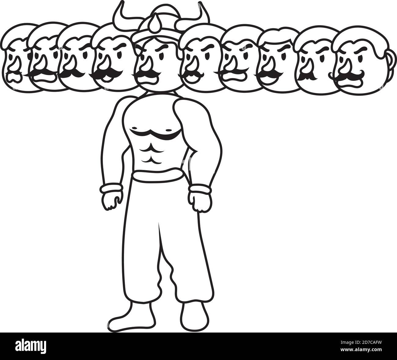 ravana avec dix têtes style de ligne de caractères icône illustration vectorielle conception Illustration de Vecteur