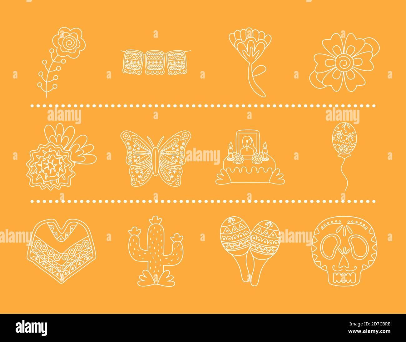 ensemble d'icônes de style de ligne mexicain dessin vectoriel d'illustration Illustration de Vecteur