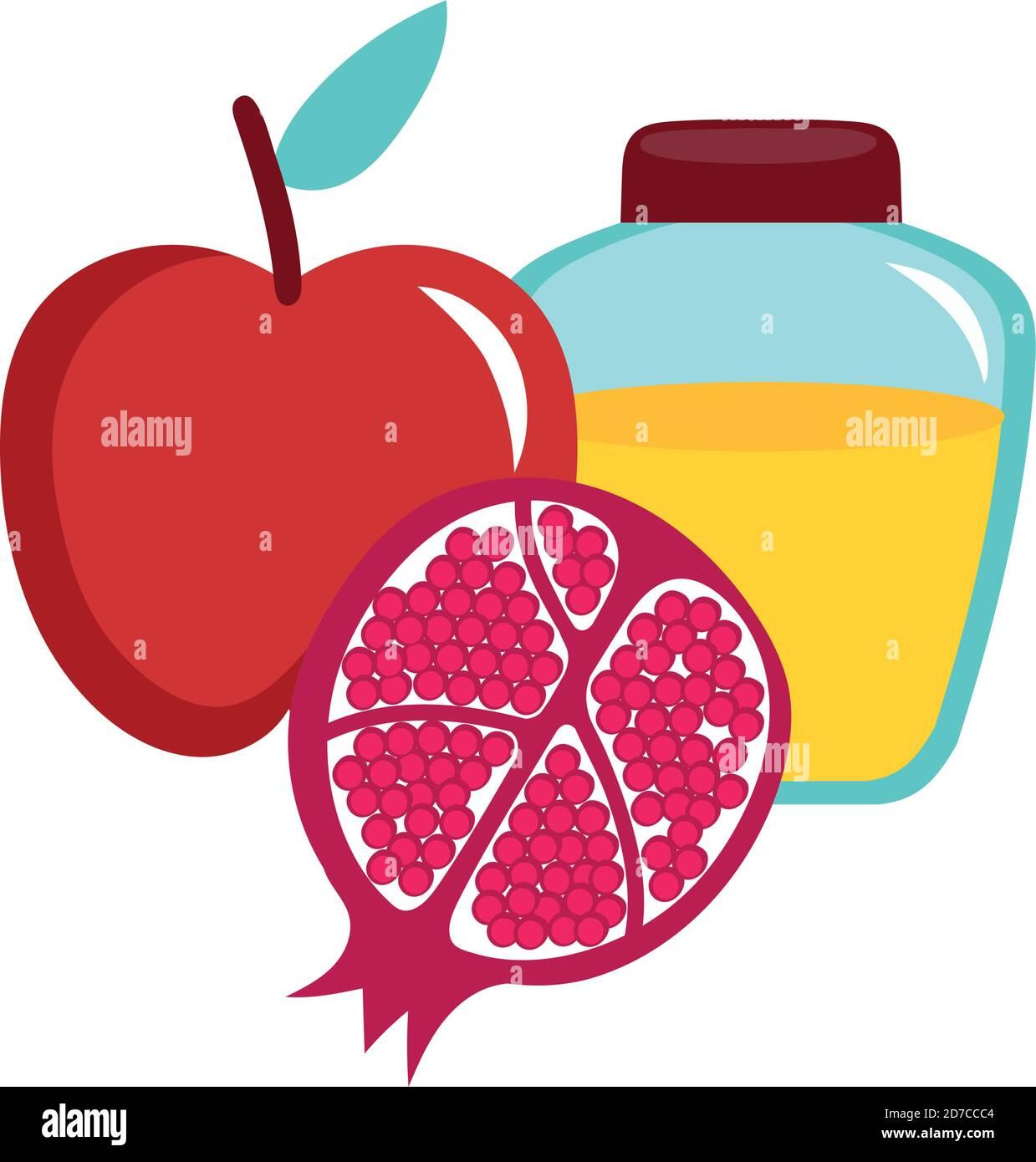 miel dans un pot avec pomme et grenade motif vectoriel Illustration de Vecteur