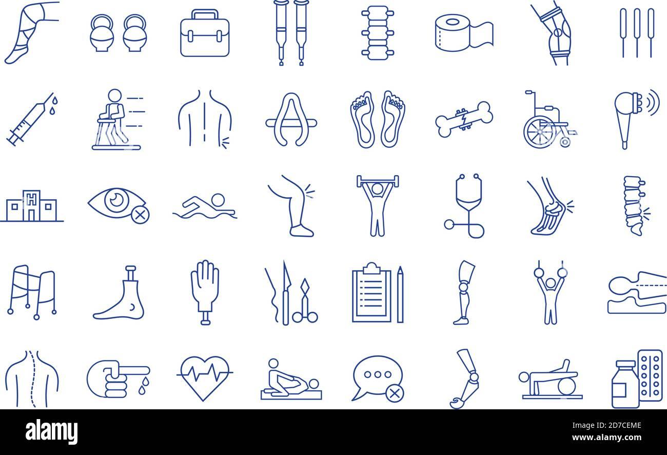 ensemble de quarante incapacités ensemble icônes vecteur illustration conception Illustration de Vecteur