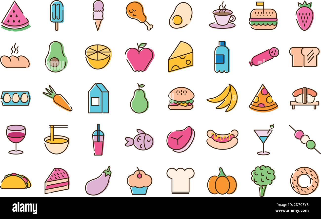 lot de quarante icônes de set alimentaire sur fond jaune conception de l'illustration Illustration de Vecteur
