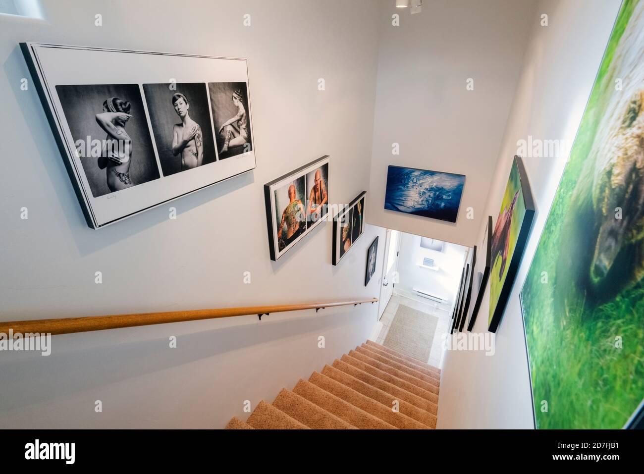 Escalier de bureau décoré de reproductions photographiques Gicleé Banque D'Images