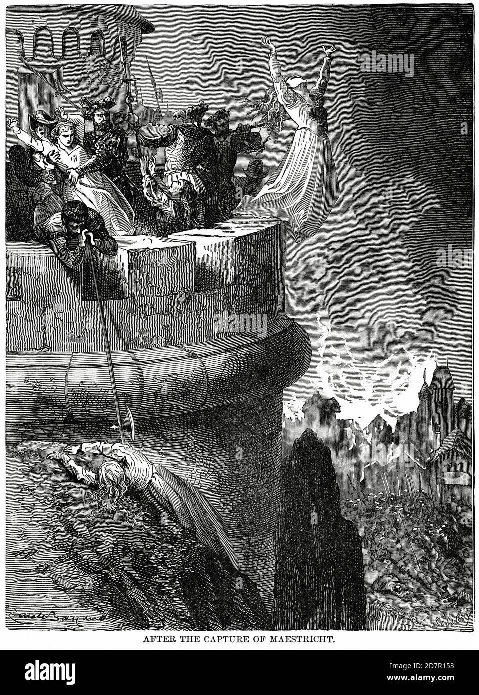 Après la capture de Maetricht (Maastricht), Illustration, Histoire du monde de Ridpath, Volume III, par John Clark Ridpath, LL. D., Merrill & Baker Publishers, New York, 1897 Banque D'Images