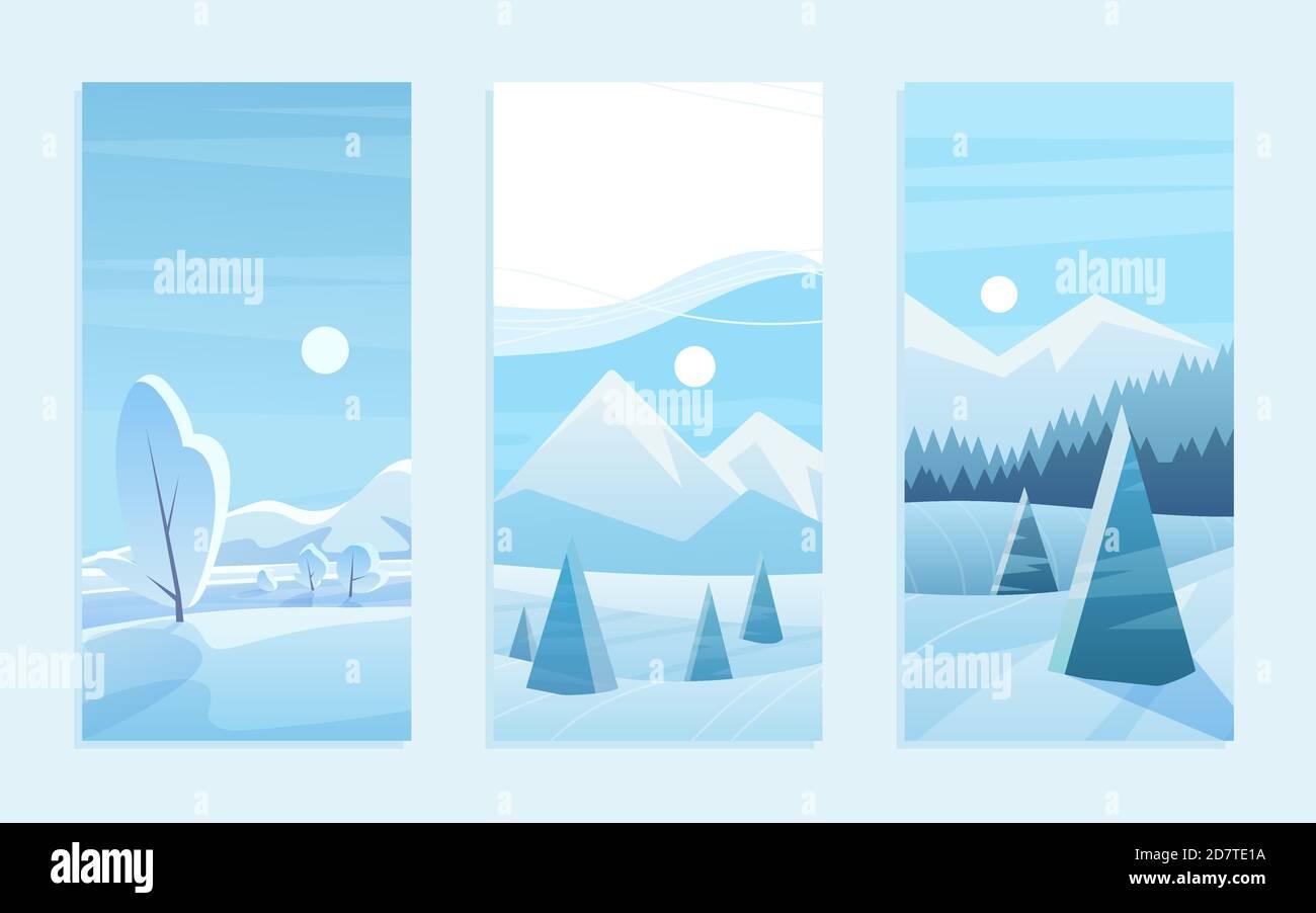 Ensemble d'illustrations vectorielles pour carte de vœux de Noël en paysage. Dessin animé bois de gel mignon avec des pins géométriques sous la neige, des montagnes bleues plates à l'horizon, neige hiver forêt collection paysage Illustration de Vecteur
