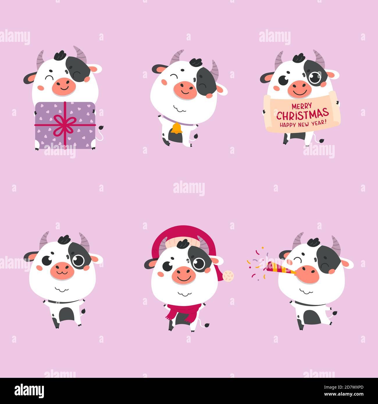 Ensemble De Mignon Dessin Anime Boeuf Et Vaches Bonne Annee Image Vectorielle Stock Alamy