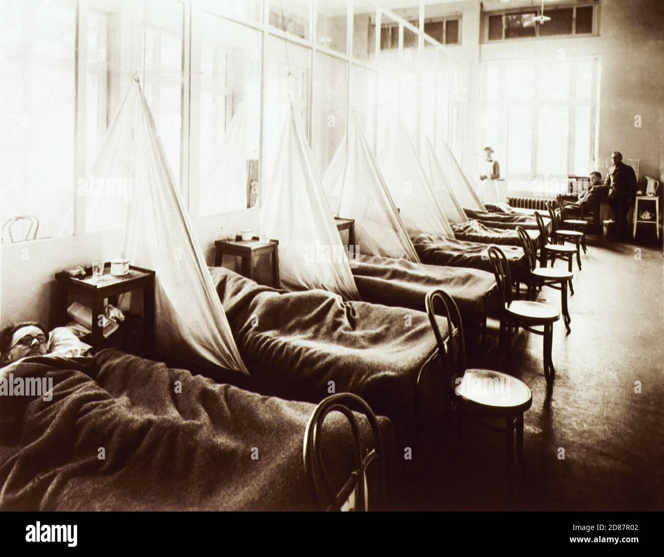 Service de grippe n° 1, hôpital du camp militaire américain n° 45, Aix-les-bains, France, 1914-1918 Banque D'Images