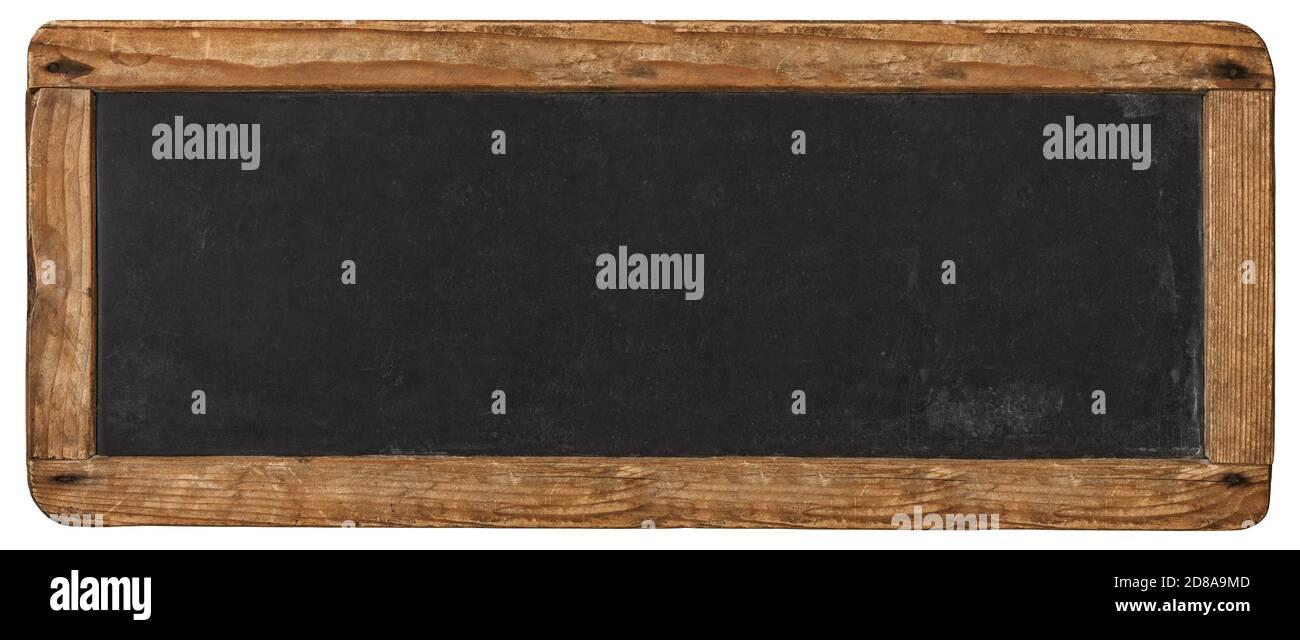 Panneau de maquette noir horizontal rustique vierge isolé sur fond blanc Banque D'Images