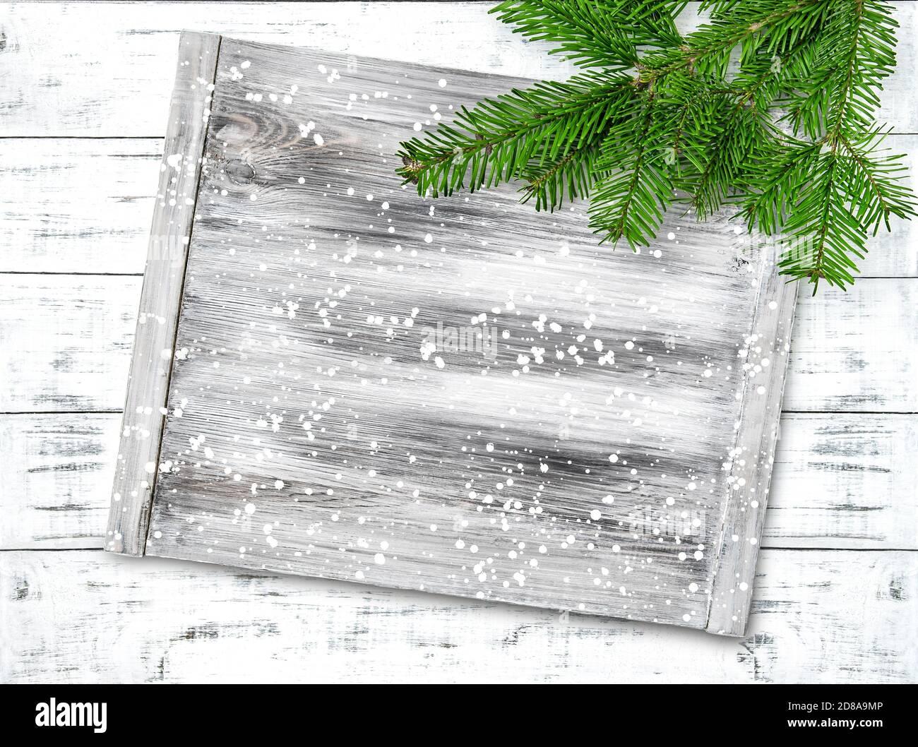 Branches d'arbre de Noël et maquette de panneau en bois Banque D'Images