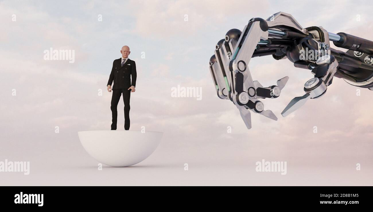 Montée des robots : les craintes de l'homme au sujet du pouvoir de l'intelligence artificielle Banque D'Images