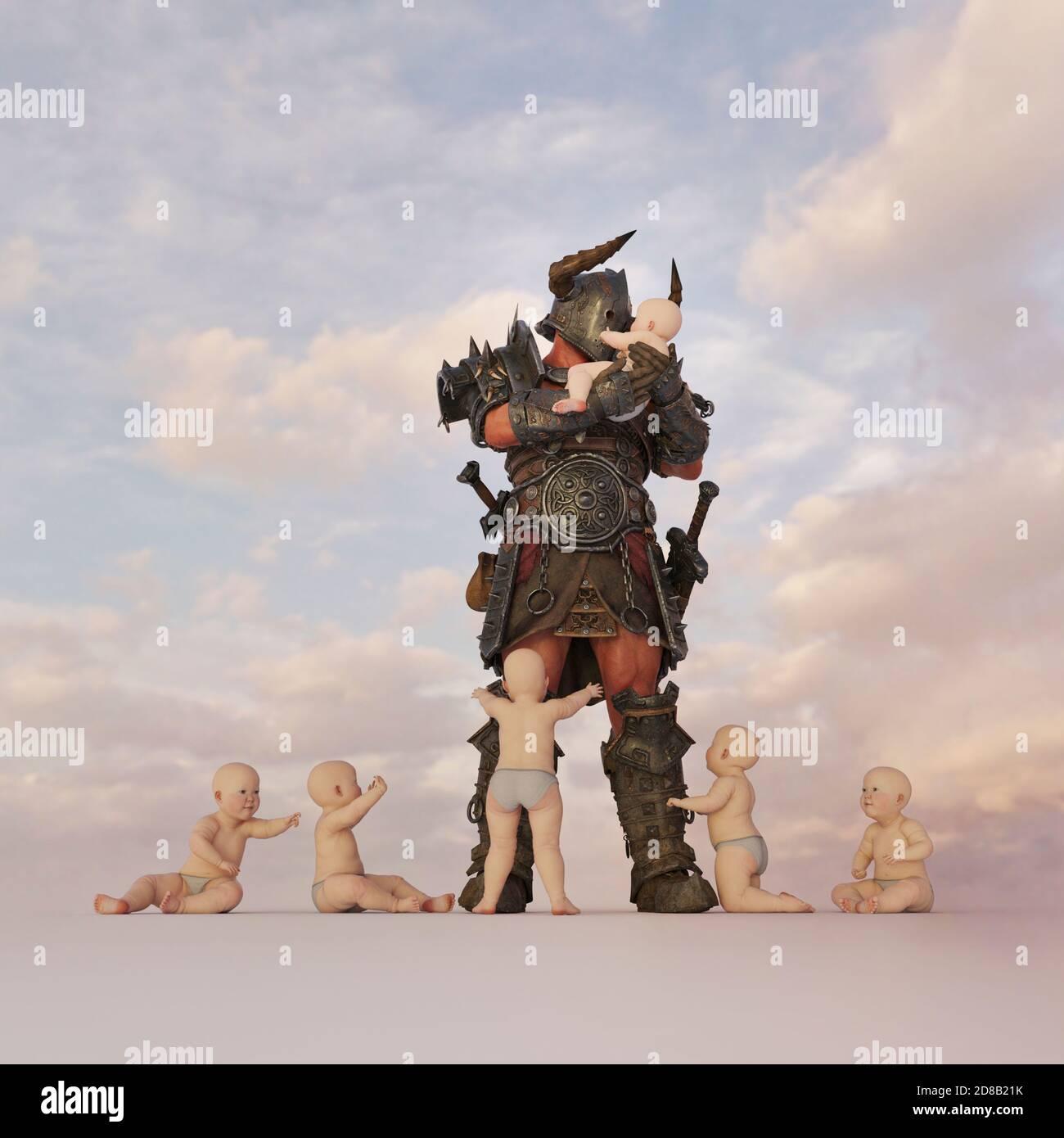 Guerrier tenant des bébés, bizarre et surréaliste, CGI chiffres pas besoin MR Banque D'Images