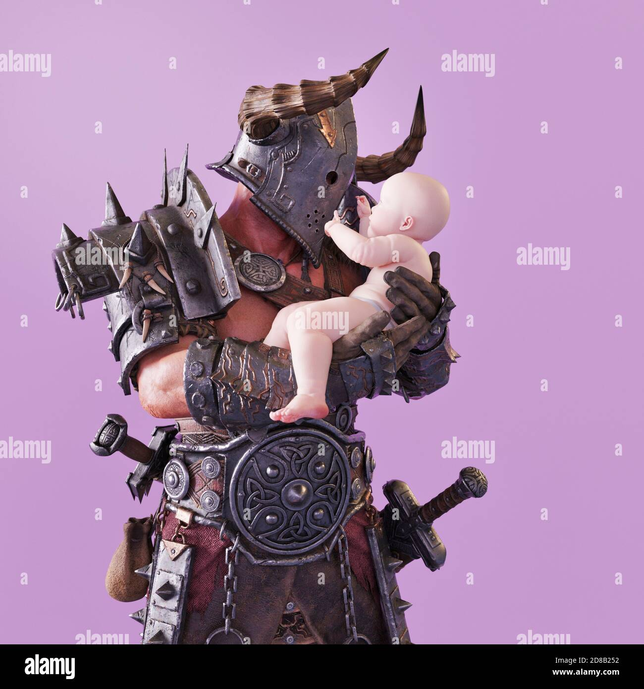 Guerrier en armure tenant bébé, CGI chiffres pas besoin MR Banque D'Images