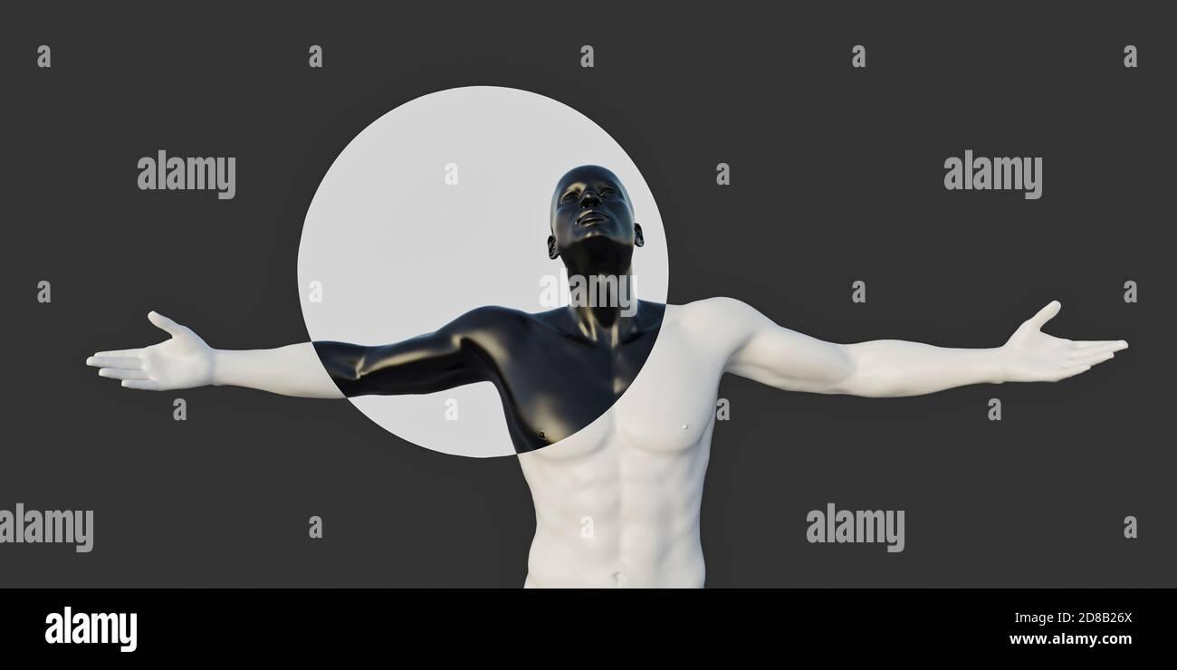 Contraste noir et blanc MAN, chiffres CGI non MR requis Banque D'Images
