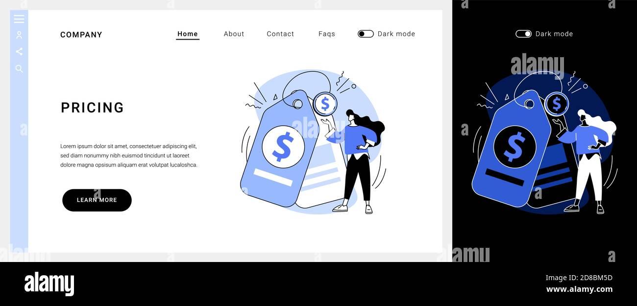 Page d'accueil du concept de vecteur de tarification. Illustration de Vecteur