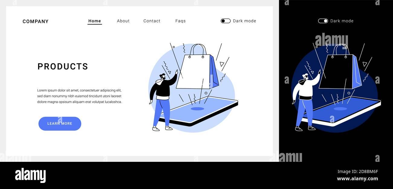 Page de renvoi du concept de vecteur de produit. Illustration de Vecteur