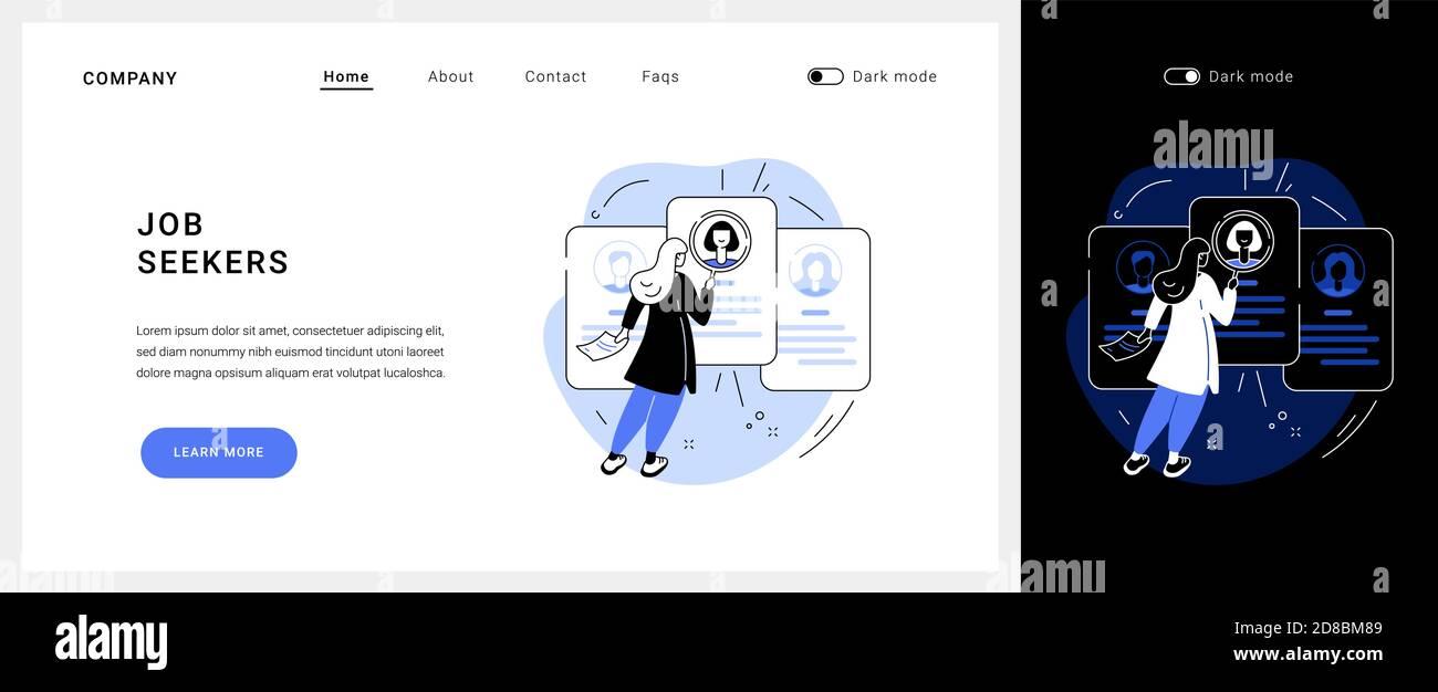 Page d'accueil du concept vectoriel demandeurs d'emploi. Illustration de Vecteur