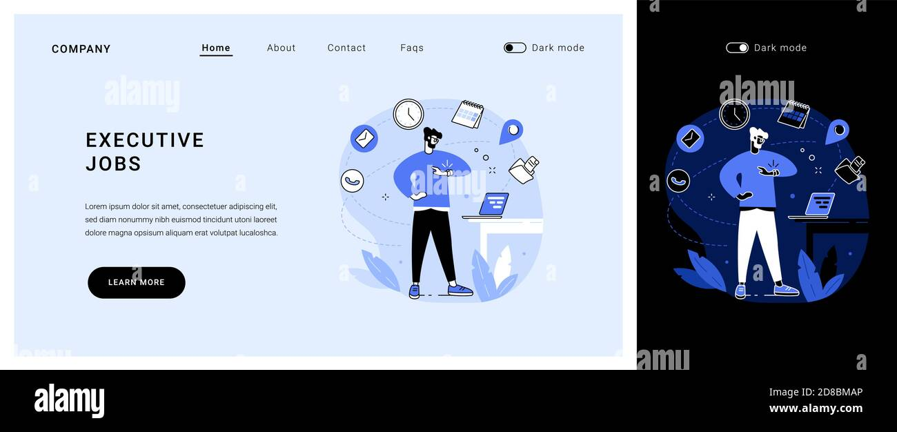 Page de renvoi du concept de vecteur de travaux de direction. Illustration de Vecteur