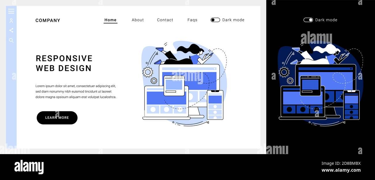 Page d'accueil du concept vectoriel de conception Web réactive. Illustration de Vecteur