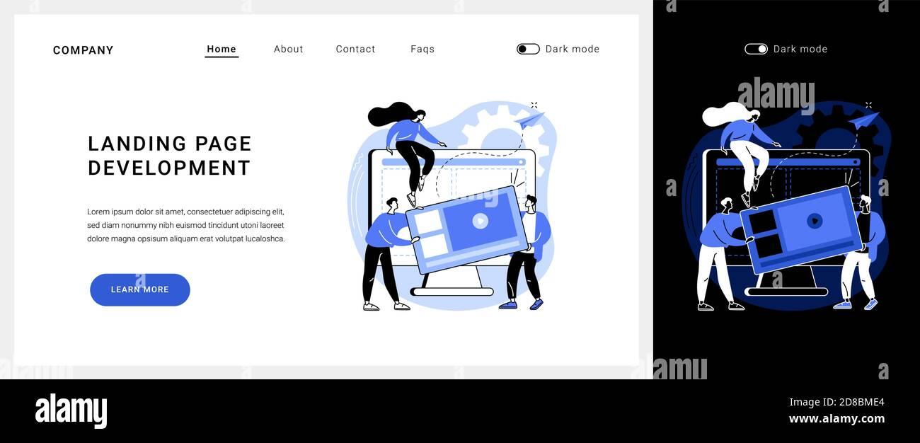 Page d'accueil développement vecteur concept page d'arrivée. Illustration de Vecteur