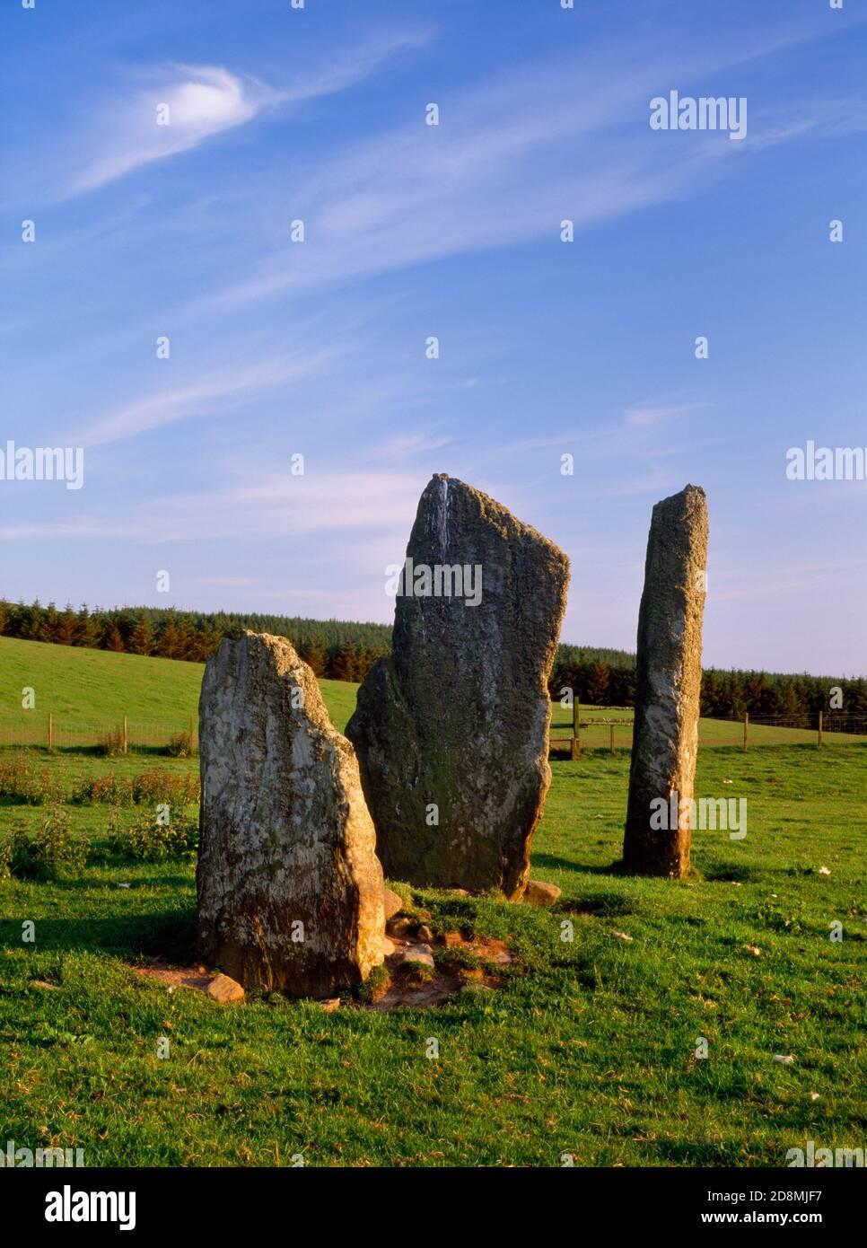 Ballochromy Stones debout Kintyre, Écosse, Royaume-Uni, look SW. Un décor d'âge de bronze (1800BC) de trois pierres de hauteur dans une ligne ne-SW. Banque D'Images
