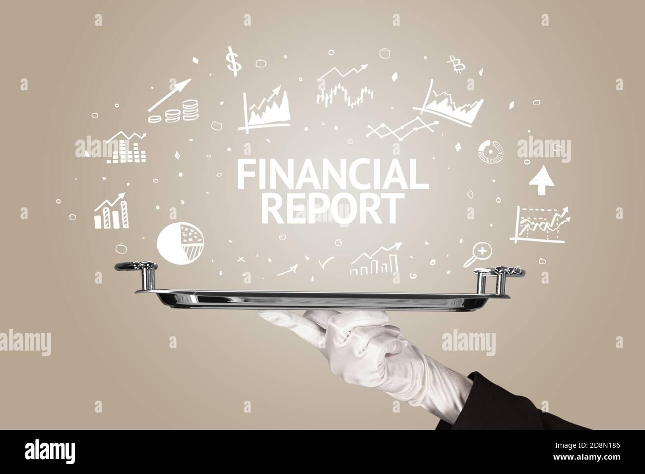 Serveur servant concept d'idée d'affaires avec inscription DE RAPPORT FINANCIER Banque D'Images