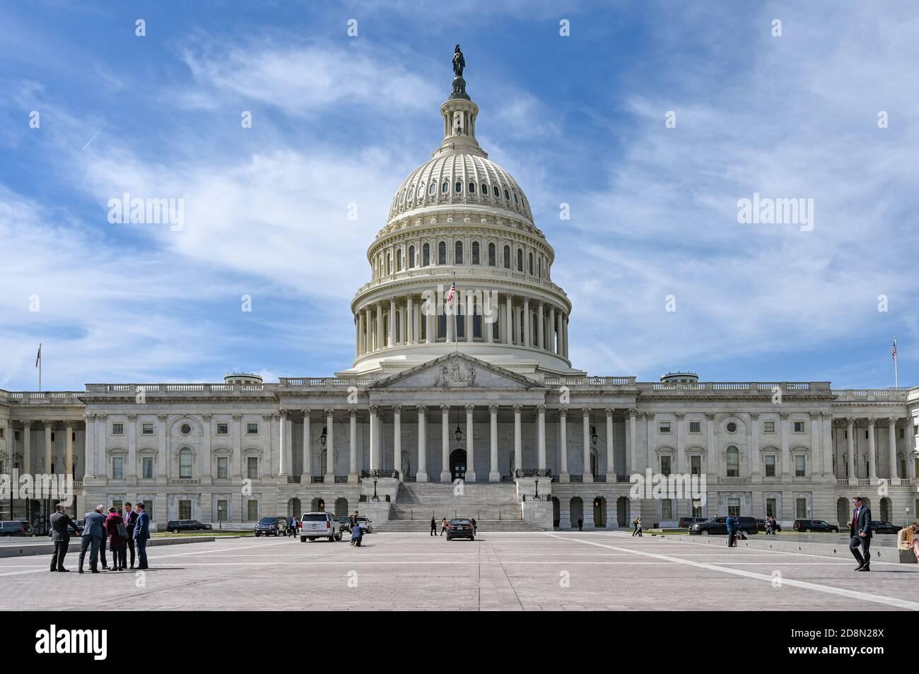 Capitole des États-Unis et Capitol Hill. Le Capitole abrite le Congrès américain. Banque D'Images