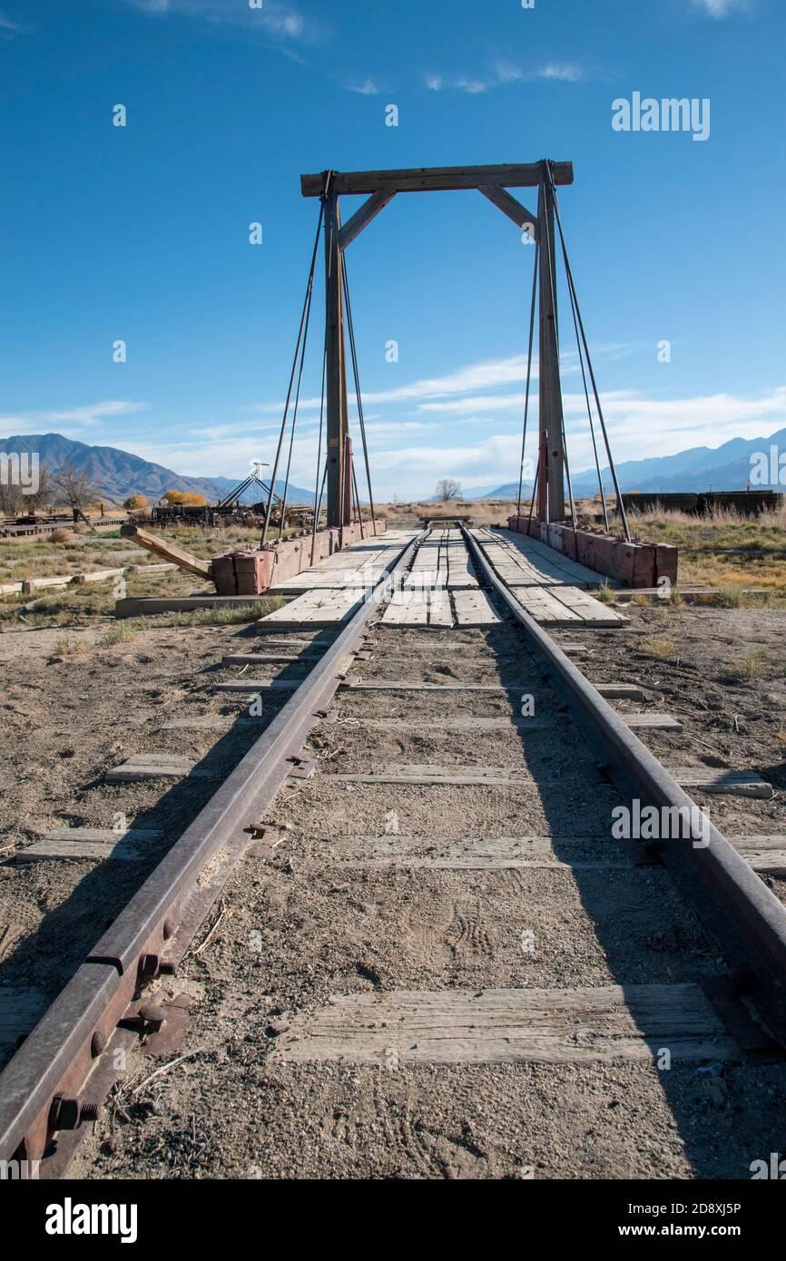 Le musée du chemin de fer de lois présente une grande collection d'objets miniers et ferroviaires provenant des comtés d'Inyo et de Mono dans la Sierra orientale de la Californie. Banque D'Images