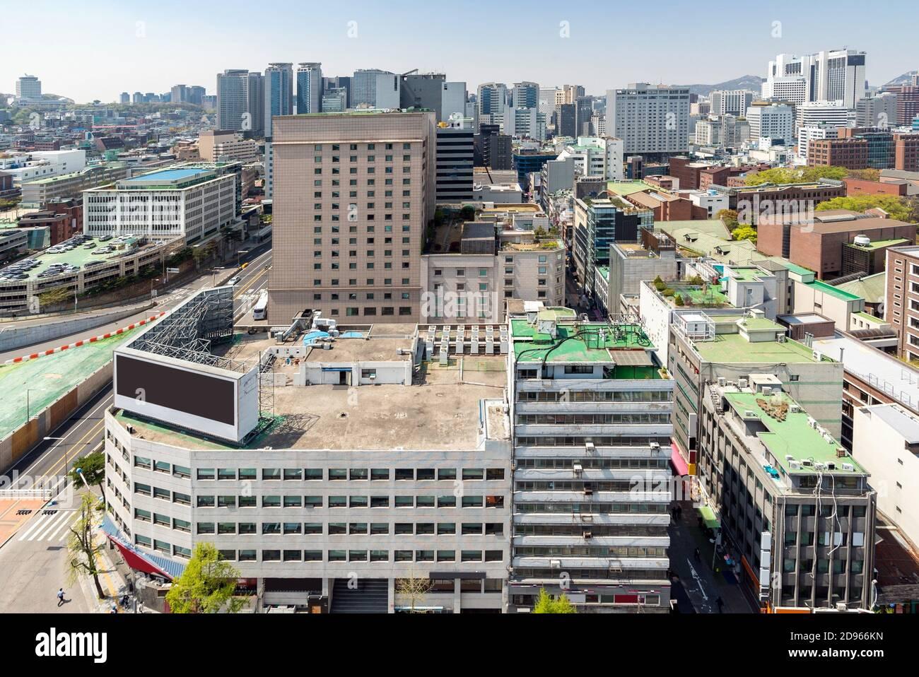 Vue aérienne du paysage urbain du centre-ville de Seoul myeongdong en Corée du Sud. Banque D'Images