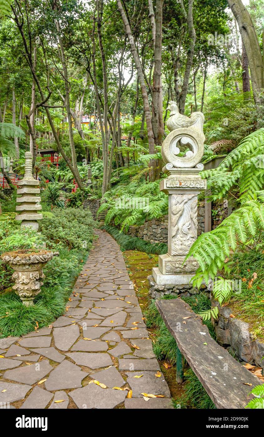 Jardin d'Asie au jardin du palais de Monte à Funchal, Madère, Portugal. Banque D'Images