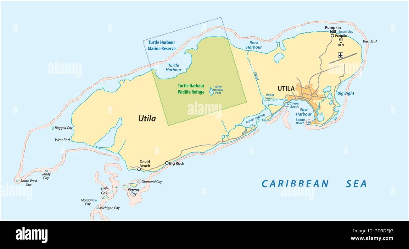 Carte vectorielle de l'île hondurienne des Caraïbes d'Utila, Honduras Illustration de Vecteur