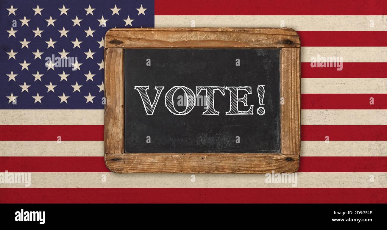 Votez ! Ancien drapeau américain vintage et tableau noir pour le texte Banque D'Images