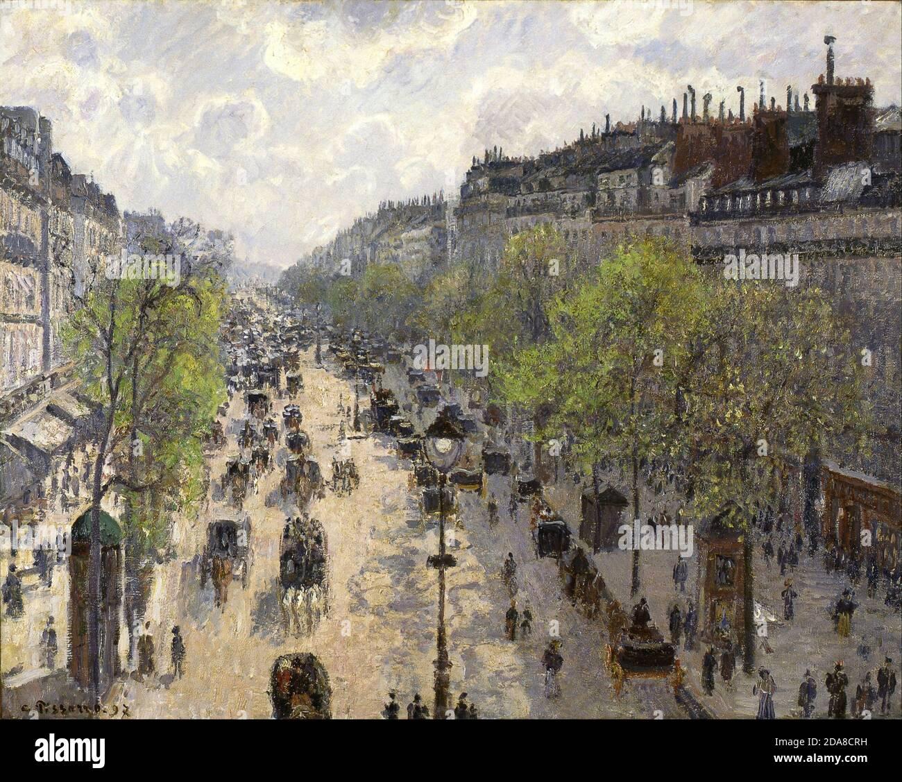 Le Boulevard de Montmartre, Matinée de Printemps, vue sur la rue depuis la fenêtre de l'hôtel, 1897 par Camille Pissarro Banque D'Images