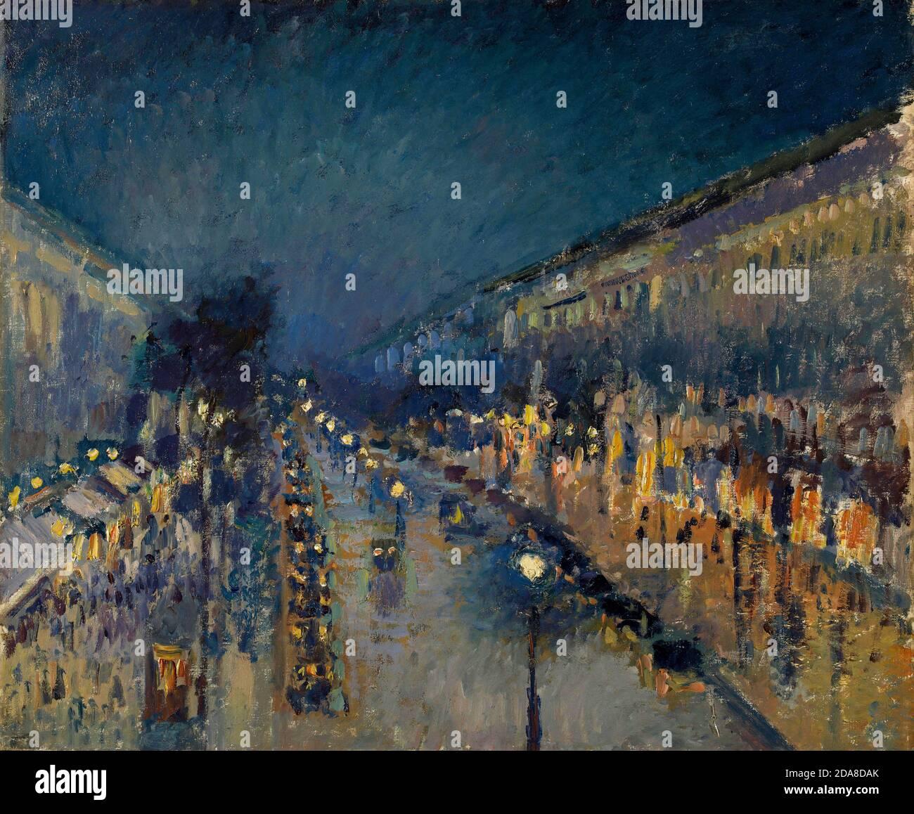 Le boulevard Montmartre la nuit, 1897 par Camille Pissarro Banque D'Images