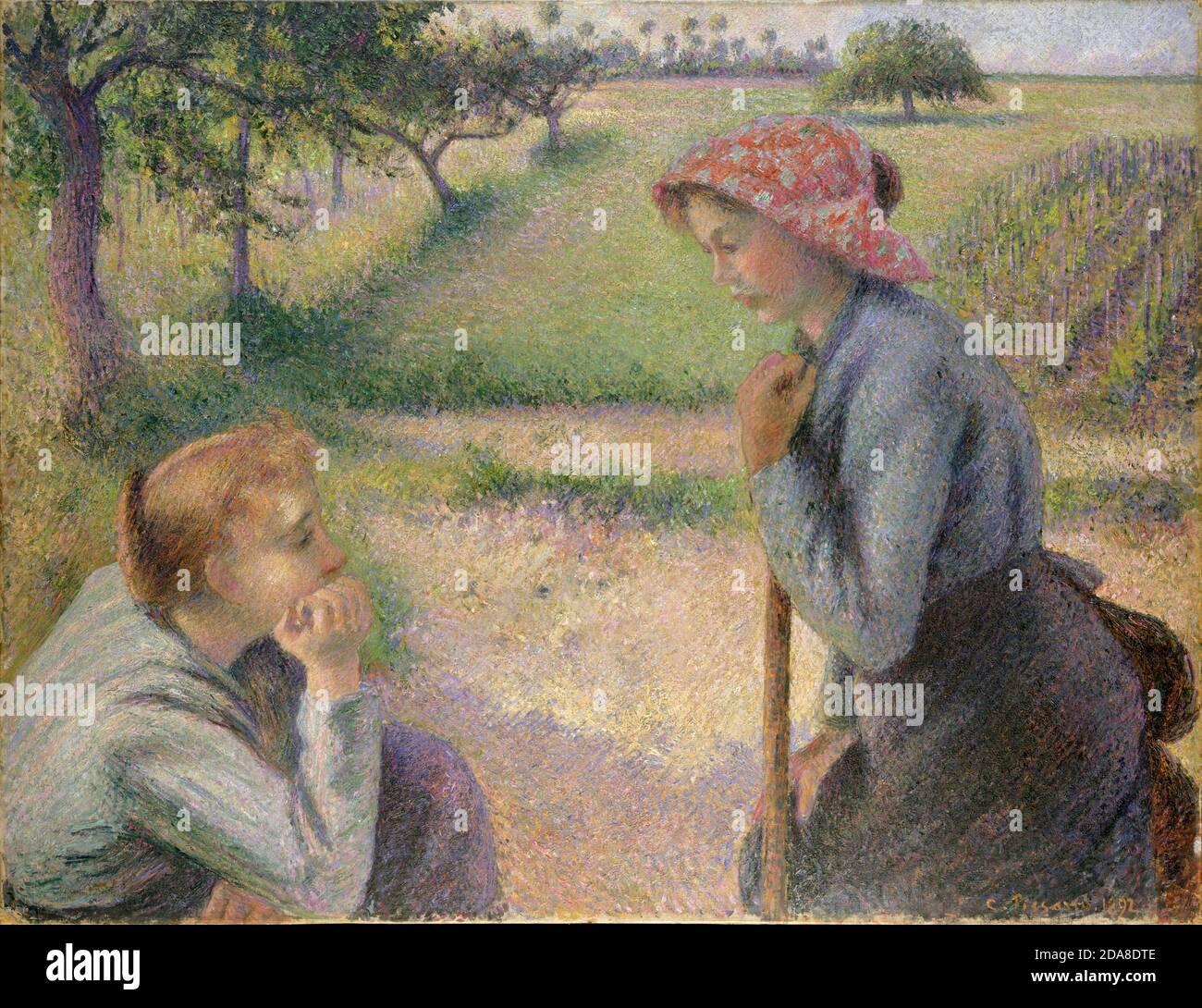 Deux jeunes femmes paysannes, 1891–92 par Camille Pissarro Banque D'Images
