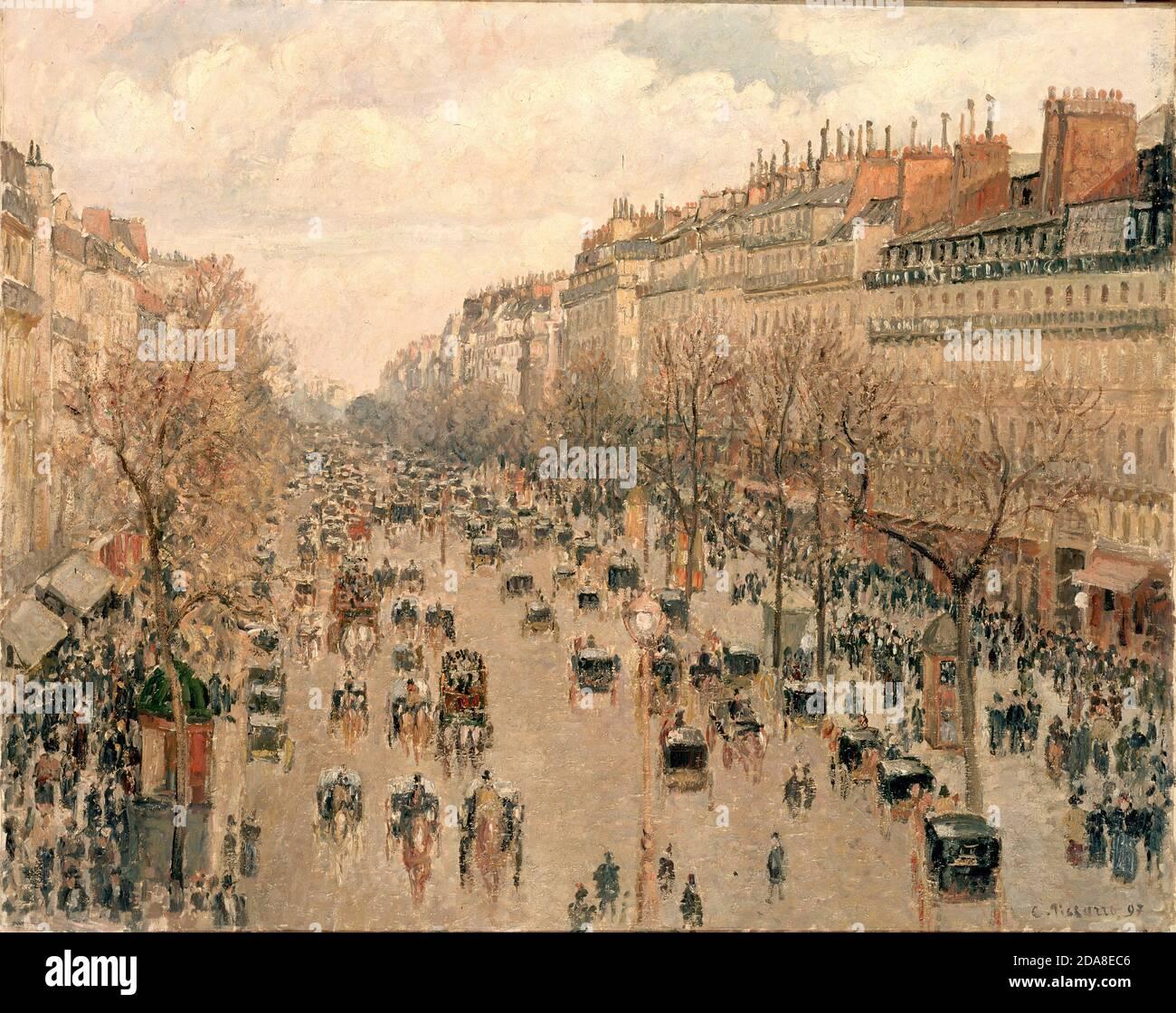 Boulevard Montmartre à Paris, 1897. Boulevard Montmartre à Paris par Camille Pissarro Banque D'Images