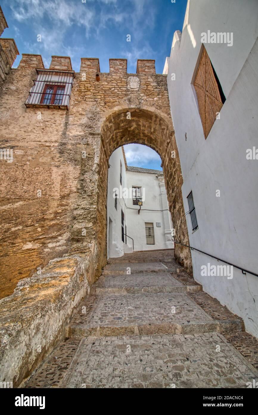 Puerta de Sancho IV, à Vejer de la Frontera, une belle ville de Cadix, Andalousie, Espagne Banque D'Images