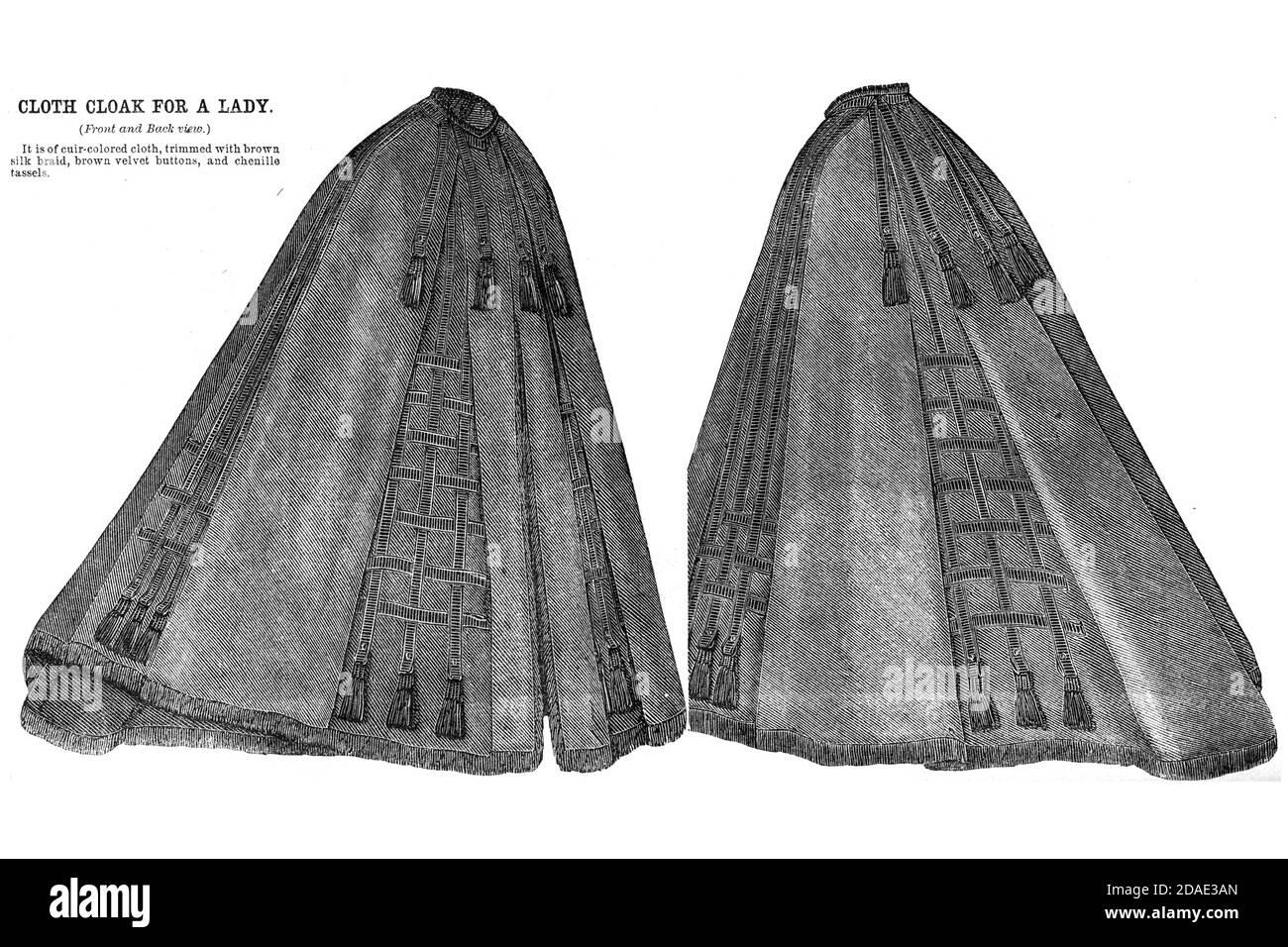 Cloak for a Lady (avant et arrière) de Godey's Lady's Book and Magazine, décembre 1864, Volume LXIX, (Volume 69), Philadelphie, Louis A. Godey, Sarah Josepha Hale, Banque D'Images