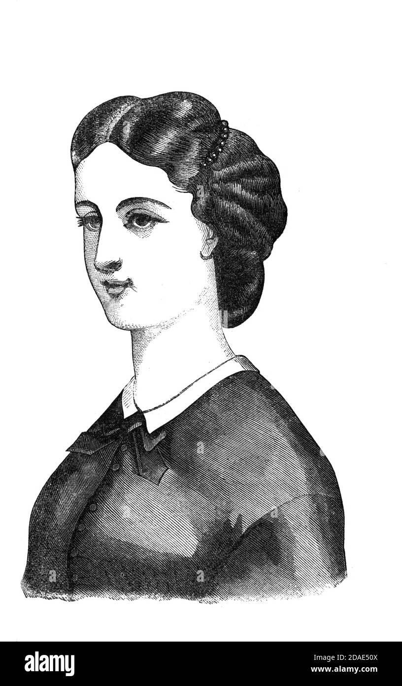 Coiffure - coiffures de femme de Godey's Lady's Book and Magazine, Marc, 1864, Volume LXIX, (Volume 69), Philadelphie, Louis A. Godey, Sarah Josepha Hale, Banque D'Images