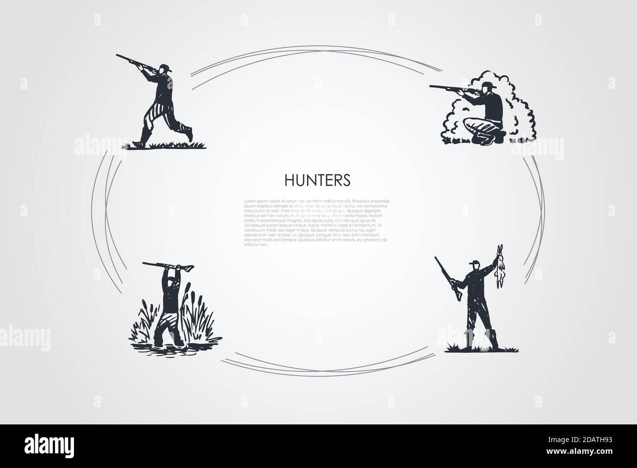 Chasseurs - hommes avec tir à l'arme dans la forêt et le marais, tenant tué lapin vecteur ensemble concept Illustration de Vecteur
